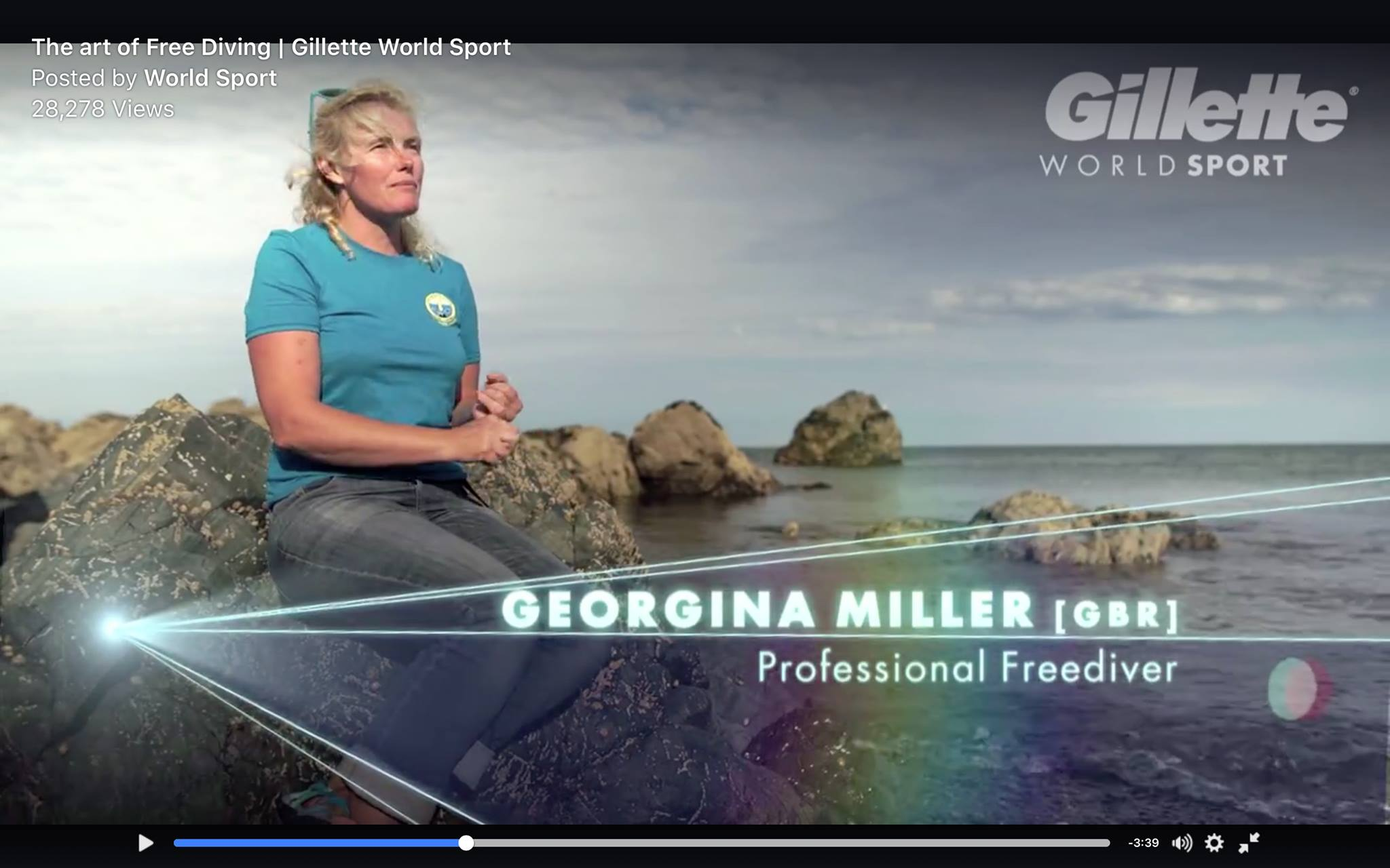 Georgina Miller professional freediver and UK National Team member in artwork for Gillette advertising